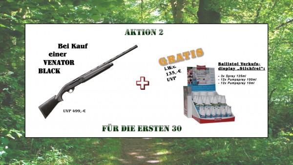 "AKTION 2: Khan Arms Venator black + GRATIS 1x Verkaufsdisplay Ballistol ""Stichfrei"""