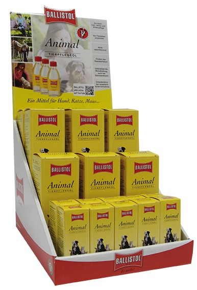 Thekendisplay Tierpflege-Öl Ballistol Animal 9 x 100 ml + 10 x 10 ml