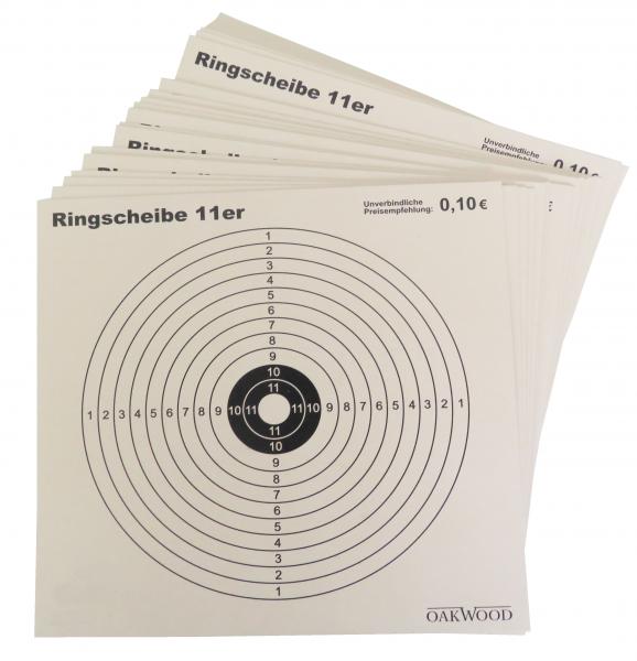 """OAKWOOD Zielscheiben """"11er-Ring"""" 14x14cm"""